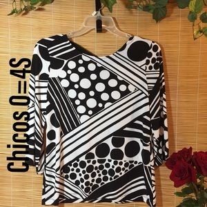 Chicos geometric knit top 0=4S